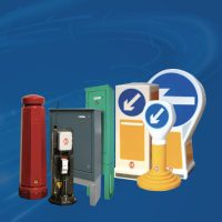 Haldo traffic bollards and comms cabinets